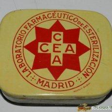 Cajas y cajitas metálicas: CAJA DE HOJALATA CON PUBLICIDAD DE LABORATORIO FARMACEUTICO DE ESTERILIZACION, CEA, MADRID, FABRICAD. Lote 74525125