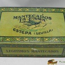 Cajas y cajitas metálicas: ANTIGUA CAJA DE HOJALATA MANTECADOS LA FAMA ESTEPA SEVILLA, ALFAJORES, POLVORONES, ROSCOS DE VINO, M. Lote 74525238