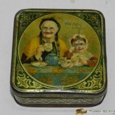 Cajas y cajitas metálicas: ANTIGUA CAJA DE HOJALATA LITOGRAFIADA CON PUBLICIDAD DE MAZAWATTEE TEA - MIDE 10 X 10 X 5 CMS.. Lote 74525614
