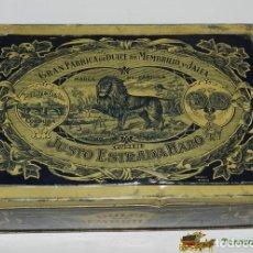 Cajas y cajitas metálicas: CAJA DE HOJALATA LITOGRAFIADA CON PUBLICIDAD DE JUSTO ESTRADA HARO - GRAN FABRICA DE DULCE DE MEMBRI. Lote 74525899