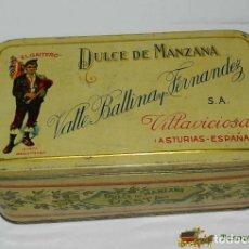 Cajas y cajitas metálicas: ANTIGUA CAJA DE HOJALATA LITOGRAFIADA CON PUBLICIDAD DE DULCE DE MANZANA BALLE BALLINA Y FERNANDEZ A. Lote 74526291