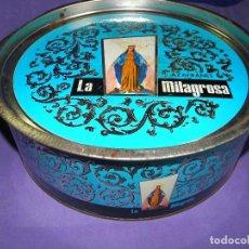 Cajas y cajitas metálicas: CAJA GRANDE AZAFRANES LA MILAGROSA. Lote 74611279