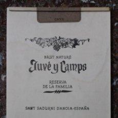 Cajas y cajitas metálicas: TABLA MADERA DE CAJA DE CAVA. DECORACIÓN BAR, RESTAURANTE, BODEGA. JUVE Y CAMPS. BRUT NATURE. 28X34. Lote 75021303