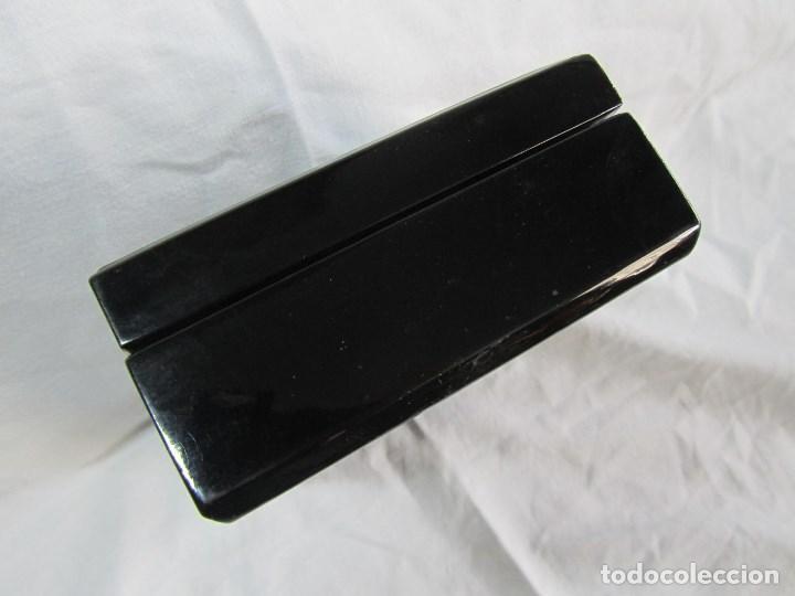 Cajas y cajitas metálicas: Caja de papel maché lacada con incrustaciones de nácar - Foto 12 - 75420223