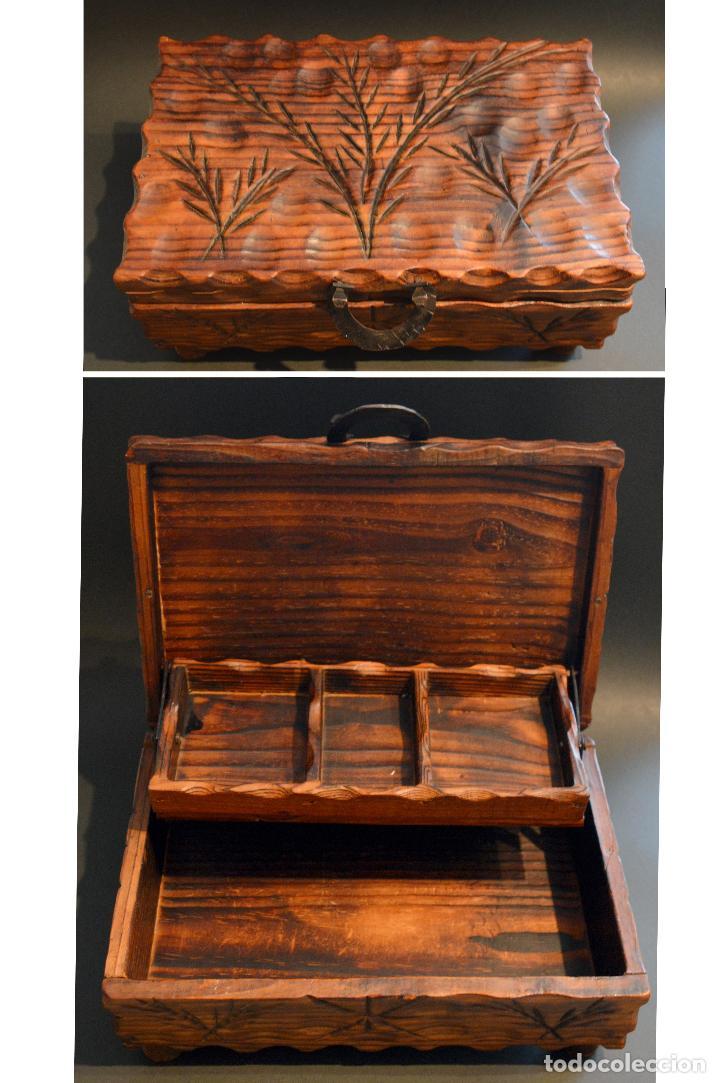 caja en madera rustica tipo costurero cajas y envases cajas y cajitas metlicas - Madera Rustica