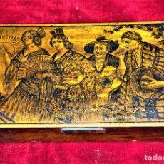 Cajas y cajitas metálicas: CAJA TABAQUERA. CON DECORACIÓN PIROGRABADA. CARDONA. ESPAÑA. CIRCA 1930. Lote 76326459