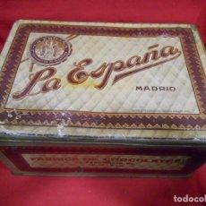 Cajas y cajitas metálicas: ANTIGUA CAJA DE HOJALATA LITOGRAFIADA DE LA ESPAÑA - FABRICA DE CHOCOLATES - SANTA ENGRACIA, MADRID. Lote 76547879