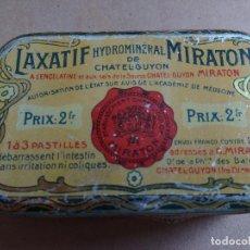 Cajas y cajitas metálicas: ANTIGUA CAJA METALICA LAXATIF MIRATON, . Lote 76624531