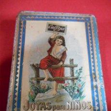 Cajas y cajitas metálicas: ANTIGUA CAJA DE HOJALATA LITOGRAFIADA, FF,SG,XIX. JOYAS PARA NIÑOS ESTUCHE XIV - CALLEJA.- . Lote 76640819