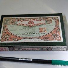Cajas y cajitas metálicas: CAJA DE FARMACIA MODERNISTA BRONCO SERINA LABORATORIOS SALUS // SIN USO. Lote 86719876