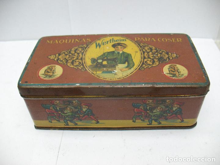 ANTIGUA CAJA METÁLICA MÁQUINAS PARA COSE WERTHEIM (Coleccionismo - Cajas y Cajitas Metálicas)