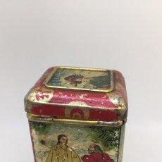 Cajas y cajitas metálicas: ANTIGUA CAJA DE HOJALATA LITOGRAFIADA - JOSÉ GÓMEZ TEJEDOR - THE LA ESTRELLA - CON MOTIVOS CHINOS - . Lote 77672025