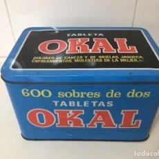 Cajas y cajitas metálicas: CAJA METÁLICA DE 600 SOBRES DE DOS TABLETAS OKAL. Lote 78356669