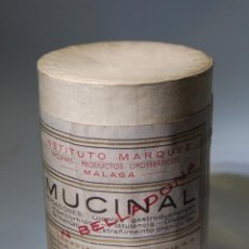Caixas e caixinhas metálicas: CAJA DE FARMACIA BOTE DE MUCINAL CON BELLADONA LABORATORIOS MÁLAGA // LLENO AÑOS 20. Lote 79230269