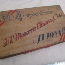 Cajas y cajitas metálicas: CAJA DE MADERA TURRONES 4 ESPECIALIDADES TONI Y MARIA, FABRICANTES MONERRIS LLINARES. JIJONA. Lote 79281873