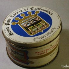 Cajas y cajitas metálicas: LATA DE MANTEQUILLA SORIA PURA CABEZA DE EXTREMADURA. 10CMS. DIÁMETRO. Lote 79621385