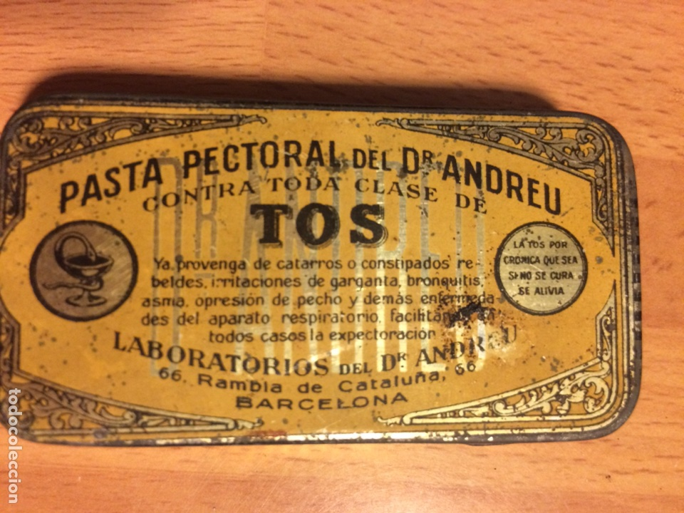 CAJA DE HOJALATA PASTA PECTORAL DR ANDREU TOS (Coleccionismo - Cajas y Cajitas Metálicas)