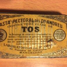Cajas y cajitas metálicas: CAJA DE HOJALATA PASTA PECTORAL DR ANDREU TOS. Lote 80196346