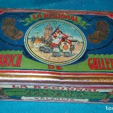 Cajas y cajitas metálicas: LA REGIONAL. FABRICA DE GALLETAS. VALENCIA. AÑOS 1910 CAJA DE HOJALATA LITOGRAFIADA.. Lote 80236629