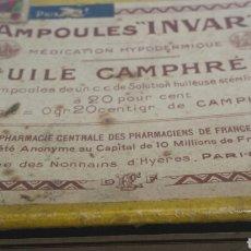 Cajas y cajitas metálicas: CAJA ANTIGUA FARMACIA AMPOULES *INVAR* AÑOS 50. Lote 80259069