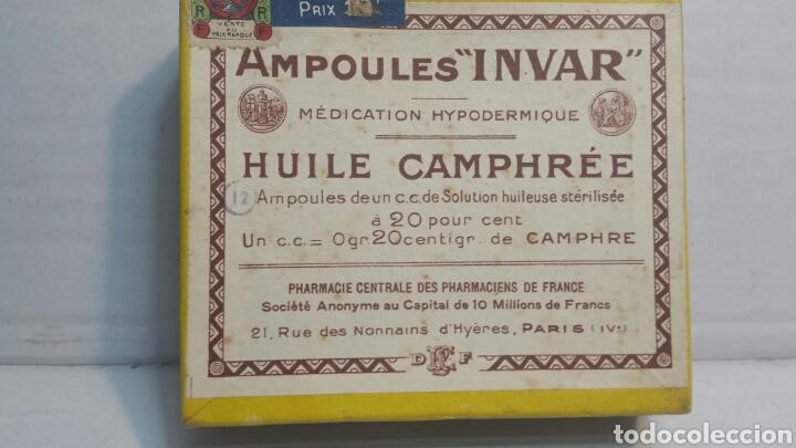 CAJA DE FARMACIA *INVAR* CON PROSPECTO Y CORTACAPSULAS (Coleccionismo - Cajas y Cajitas Metálicas)