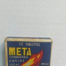Cajas y cajitas metálicas: CAJA ANTIGUA DE PASTILLAS DE COMBUSTIBLE META. Lote 80260874