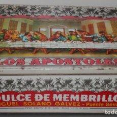 Cajas y cajitas metálicas: DULCE MENBRILLO LOS APOSTOLES - CAJA ANTIGUA. Lote 80315765