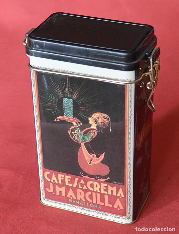Cajas y cajitas metálicas: MARCILLLA - CAFES A LA CREMA - CAJA DE CHAPA - REPRODUCCION - Foto 2 - 80357093