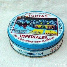 Cajas y cajitas metálicas: CAJA DE LATA DE TORTAS IMPERIALES, TURRONES EL LOBO, JIJONA. Lote 80368825