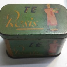 Cajas y cajitas metálicas: CAJA LATA ANTIGUA TE ROSIS MALAGA. Lote 82056126