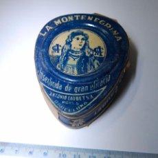 Cajas y cajitas metálicas: CAJA DE CHAPA HOJALATA INSECTICIDA LA MONTENEGRINA A. CAUBET BARCELONA // SIN DESPRECINTAR FARMACIA. Lote 243803485