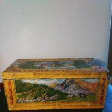 Cajas y cajitas metálicas: ANTIGUA CAJA DE HOJALATA GALLETAS BIRBA [ÚNICA], PAPEL LITOGRAFIADO ENVASE NÚMERO 2!!. Lote 82675056