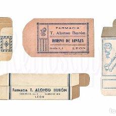 Cajas y cajitas metálicas: LOTE DE 4 CAJAS ENVASES DE PAPEL Y CARTÓN FARMACIA T. ALONSO BURÓN. DROGAS MEDICINA. LEÓN AÑOS 40. Lote 133344309