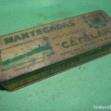 Cajas y cajitas metálicas: BUSCADA CAJA HOJALATA LITOGRAFIADA MANTECADAS CATALAN TUDELA AÑOS 1940 CIRAGES FRANCAIS SANTANDER. Lote 82912304