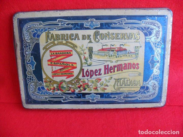 TAPA CAJA CHAPA,HOJALATA CONSERVAS LOPEZ HERMANOS,MALAGA (Coleccionismo - Cajas y Cajitas Metálicas)