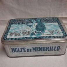Cajas y cajitas metálicas: ANTIGUA CAJA METÁLICA VACIA DULCE DE MEMBRILLO LA FAMA - SUCESOR DE CHACON HERMANOS - PUENTE GENIL . Lote 85082684