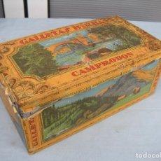 Cajas y cajitas metálicas: LATA GALLETAS BIRBA CAMPRODON. Lote 85180716