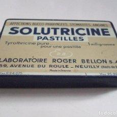 Cajas y cajitas metálicas: CAJA CAJITA METALICA - MEDICAMENTO - SOLUTRICINE PASTILLES - LABORATORIO ROGER BELLON - FRANCIA. Lote 85238312