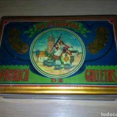 Cajas y cajitas metálicas: LA REGIONAL FABRICA DE GALLETAS *ANTIGUA CAJA DE HOJALATA LITOGRAFIADA* ORIGINAL. Lote 85384004