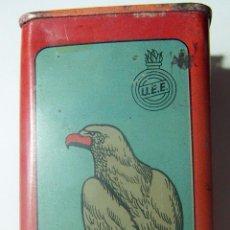 Cajas y cajitas metálicas: LATA POLVORA AGUILA 250 GR. UNION ESPAÑOLA DE EXPLOSIVOS LUGONES ASTURIAS AÑOS 50 . Lote 86457220