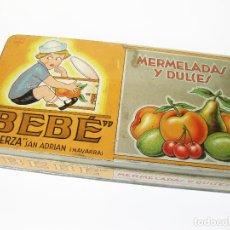 Cajas y cajitas metálicas: CAJA DE LATA LITOGRAFIADA BEBE MERMELADAS Y DULCES - MUERZA - SAN ADRIÁ NAVARRA - G. DE ANDREIS. Lote 86758924