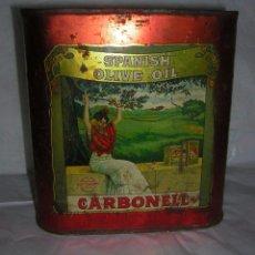 Cajas y cajitas metálicas: LATA DE HOJALATA LITOGRAFIADA DE AÑOS 20, ACEITE CARBONELL. Lote 87030820