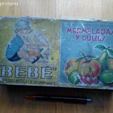 Cajas y cajitas metálicas: ANTIGUA CAJA MERMELADAS Y DULCES - BEBE - INDUSTRIAS MUERZA S.A. SAN ADRIAN NAVARRA. Lote 87058776