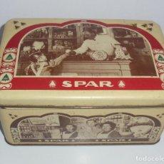 Cajas y cajitas metálicas: ANTIGUA CAJA METALICA CARAMELOS Y CHOCOLATES SPAR. 8,5X17X12 CM. Lote 87487572