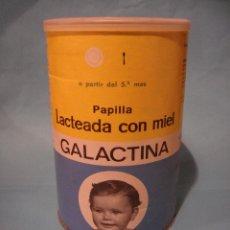 Cajas y cajitas metálicas: ANTIGUO BOTE DE PAPILLA LACTEADA CON MIEL. GALACTINA. LATA SIN ABRIR. FAES BILBAO. 50 PESETAS. BEBÉ. Lote 87685144