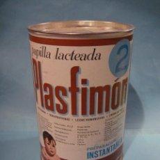 Cajas y cajitas metálicas: ANTIGUO BOTE DE PAPILLA LACTEADA PLASFIMON 2. LATA ALIMENTO INFANTIL. LLENO. ZARAGOZA. SIN ABRIR. Lote 87688148
