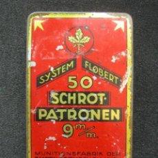 Casse e cassette metalliche: ANTIGUA CAJA METÁLICA SYSTEM FLOBERT 50 SCHROT PATRONEN. 11 X 6,5 X 2 CM . Lote 88107436