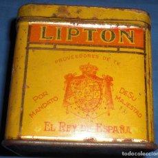 Cajas y cajitas metálicas: LATA DE TE LIPTON ÉPOCA ALFONSINA. Lote 88868628