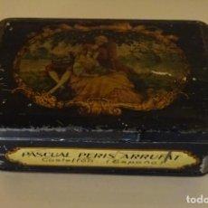 Cajas y cajitas metálicas: ANTIGUA CAJA DE HOJALATA DE PASCUAL PERIS ARRUFAT. CASTELLON- LIT. ANDREIS DE BADALONA-. Lote 90127840