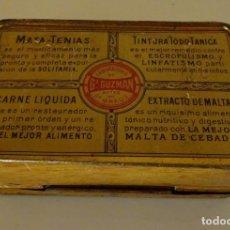 Cajas y cajitas metálicas: ANTIGUA CAJA DE HOJALATA DE LABORATORIO DE Gª GUZMAN ANTES DEL DR. GREUS. VALENCIA. Lote 90128324